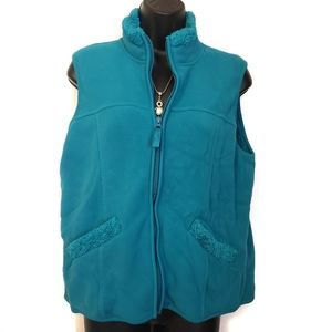 Blue Coldwater Creek Fleece-Lined Pocketed Vest M